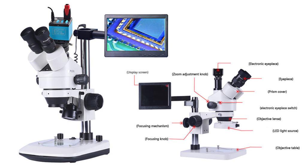 lupa de microscopio digital estéreo industrial