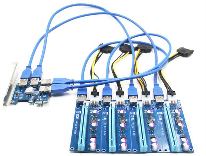 Tarjeta adaptadora PCI-E 1 a 4